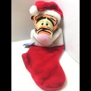 """Disney Tigger 19"""" Plush Santa Christmas Stocking"""